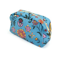 BLUE FOLK FESTIVAL FLOWER PRINT LARGE WASH BAG TOILETRY BAG MAKE UP BAG POUCH