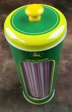 John Deere Canister Tin Straw Holder The Tin Box Company