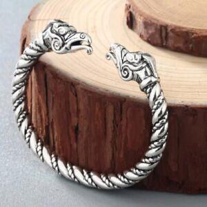 Celtic Viking Silver Bracelet Dragon Snake Norse Myth Animal Knot Wrist Ankle