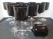 "Villeroy & Boch Cascara Black Set of 11 Claret Wine Goblets 7 3/4"" Tall"