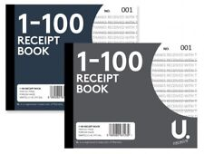 2 x DUPLICATE RECEIPT BOOK Numbered Pages 1-100 + Sheet of Carbon Paper (D3)
