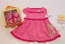 NWT Gymboree Monkey Island 0-3 Months Pink Ruffle Dress Socks & Flower Sandals