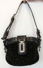 MARC CHANTAL MC BLACK FAUX FUR & LEATHER HANDBAG, ADJUSTABLE STRAP,SILVER ACCENT