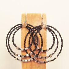"""2"""" Black Color Triple Hoop Bohemian Bling Handmade Bali Seed Bead Earring"""