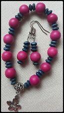 Surfer Hippy Boho PINK BLUE Wood TIBETAN SILVER Charm Bracelet + FREE EARRINGS !