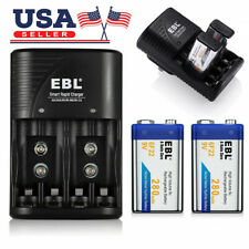 2x EBL 280mAh 9-Volt NiMH Rechargeable Battery + Dual Slots 9V 6F22 9 V Charger