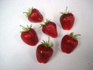6 New Artificial Fruits 45mm 'Strawberries' Home Decoration Fake Fruit Realistic
