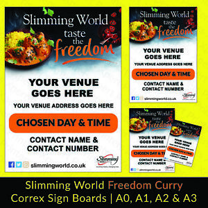 Slimming World Freedom Curry Correx Sign Board 4mm A0, A1, A2, A3 Print Banner