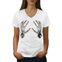Wellcoda Skeleton Bare Hand Womens V-Neck T-shirt, Touch Me Graphic Design Tee