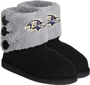 NFL Baltimore Ravens Knit Team Color High End Women Button Boot Slipper - M Size