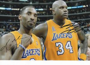 Kobe Bryant Shaquille O'Neal signed photo.  COA. 21X30