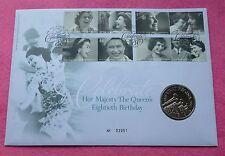 2006 HM Queen 80th compleanno £ 5 Cinque sterline BU Coin FDC FAR rintracciare