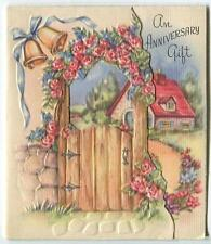 VINTAGE WOOD GARDEN GATE CLIMBING ROSES GARDEN PINK RED HOUSE SMALL CARD PRINT