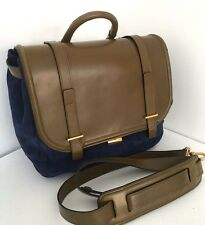 PAUL SMITH MAINLINE BLUE SUEDE & GREEN CALF LEATHER BAG/SATCHEL RETAIL £750 BNWT