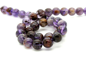 Purple Rutilated Quartz Super Seven Smooth Round Natural Gemstone Beads - RN38