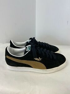 Puma Suede Classic Trainers in Black & Gold - Size 8