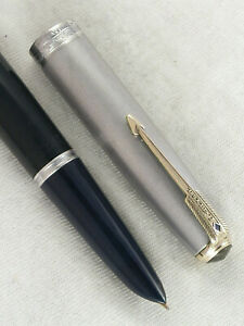 "VINTAGE 1940s PARKER ""51"" VACUMATIC FOUNTAIN PEN ~ STERLING SILVER CAP ~RESTORED"