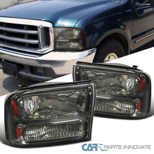 For Ford 99-04 F250 F350 Super Duty 00-04Excursion Smoke Headlights Head Lamps