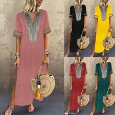 New Womens Sleeveless Boho Party Casual Linen Kaftan Maxi Dress Long Dresses