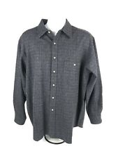 Pendleton Men's Gray Sz XL Tweed Button Up Shirt 100% Virgin Wool Elbow Patches