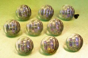 9 vintage (unused) clear glass buttons/silver lustre to one side of top 14 mm.