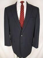 Hickey Freeman Madison Mens Navy Stripe 2 Btn Suit 44L