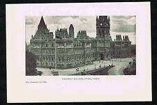 Parliament Buildings, Ottawa, Canada  - 1900 Lithograph