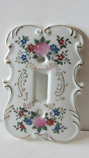 "Single Light Switch Plate Cover ~ Floral Porcelain Shaped Gold Trim-5""H x 3.5""W"