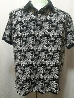 RocaWear Custom Fit Collared Shirt All Over Skull Print Mens Size XL LN