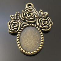 20pcs Vintage Bronze Alloy Rose Edge Cameo Tray Settings 14*10mm Charms Pendants