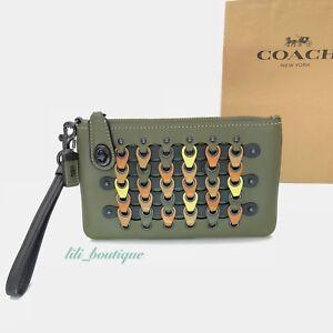 NWT Coach 1941 F86922 ColorBlock Chain Link Wristlet 21 Leather Fern Black Multi