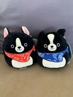 Squishmallow 5 inch Tommy&Teddy the Black Dog with bandana Plush NWT set