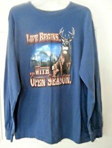 Ivory Outfitters mens deer hunter tee shirt sz M 38-40 open season long sleeve