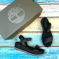Timberland Women's Ankle Strap Black Leather Sandals MSRP $120