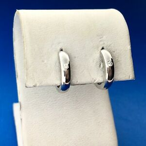 Designer 14K White Gold Diamond Polished Huggie Hoop Earrings