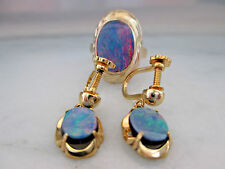 9K Yellow Gold Black Opal Ring and Earrings Set GIA $1000