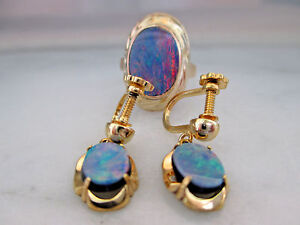 9K Yellow Gold Black Opal Doublet Ring and Earrings Set GIA $1000