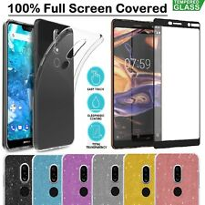 For Nokia 2.1 3.1 5.1 7.1 Case Shockproof Clear Gel Cover + Tempered Glass Film