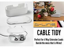 D-Line Wire Tidy 4 Way Small White Extension Cable Management System TV AV DVD