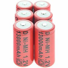 6x D size 1.2V 13000mAh Ni-MH Red Color Rechargeable Battery USA Fast Shipping
