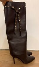 Valentino Brown Leather Rockstud Tie Foldover Knee Length Boots Size 6.5