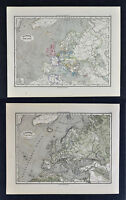 1880 Sydow Maps x 2 - Political & Physical - Europe Spain France Germany Italy