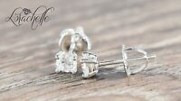 0.5ct Brilliant Round Cut Screw Back Earring Studs Real Solid 14K White Gold