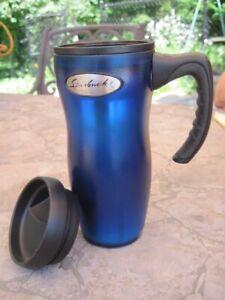 STARBUCKS COFFEE BARISTA 2001 Travel Mug With Handle 16 OZ Dark Blue  NEW