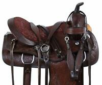 Premium Leather Western Barrel Racing Horse Saddle Tack, Size 14 to 18 Inch Seat