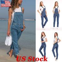 Womens Denim Jeans Pants Overalls Bib Suspender Trousers Jumpsuit Pocket Rompers