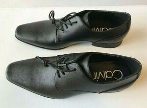 Calvin Klein Men's Brodie EPI Leather Oxford Lace up Dress Shoe Size US BLACK