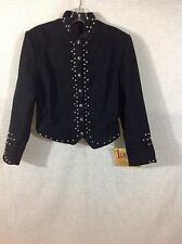 Women's Western Coat Black Wool Silver Studded Diamond Leathers USA S