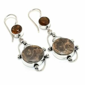 """Fossil Coral, Smoky Quartz 925 Sterling Silver Jewelry Earring 2.17 """" j921"""