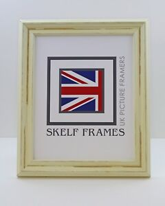 DISTRESSED OFF-WHITE SHABBY CHIC WOOD PICTURE PHOTO FRAME WITH GLASS